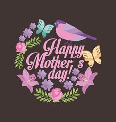 Happy mothers day romantic cute flowers bird vector