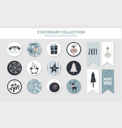 hipster new year and merry christmas stationary vector image