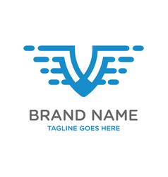 initial logo design technology v vector image