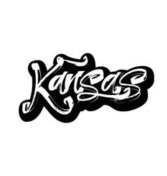 kansas sticker modern calligraphy hand lettering vector image