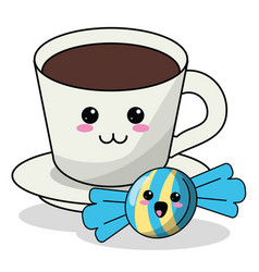kawaii coffee cup candy image vector image