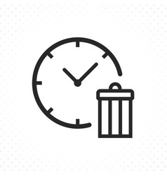 Line icon clock with trash vector