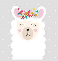 Little cute llama for card and shirt design vector
