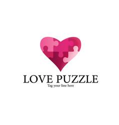 Love puzzle logo vector