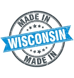 Made in Wisconsin blue round vintage stamp vector