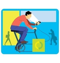 Man Cartoon on a Exercise Bike vector