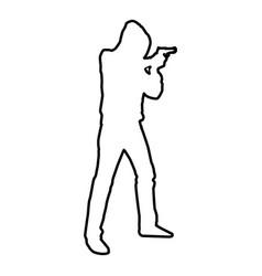 man in the hood with gun concept danger short arm vector image
