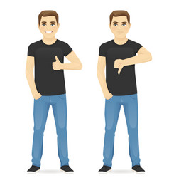 Man showing thumb up and thumb down vector