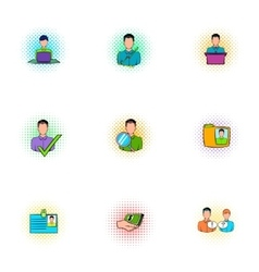 Manager icons set pop-art style vector