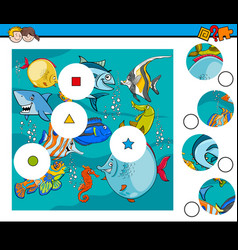 match pieces puzzle with fish animals vector image