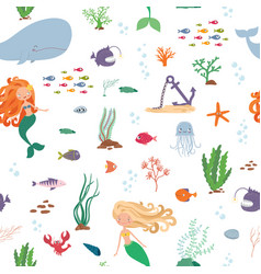 Mermaids and sea animals cartoon seamless pattern vector