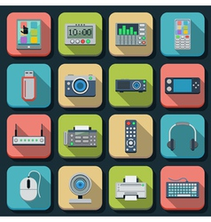 Modern electronic flat icons vector