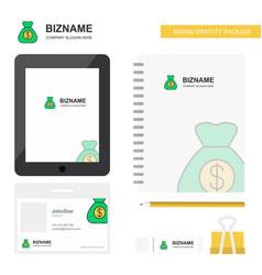 money bag business logo tab app diary pvc vector image
