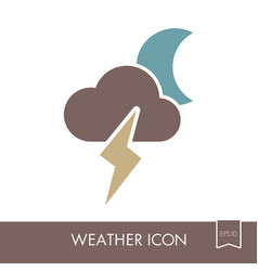 moon cloud lightning icon meteorology weather vector image