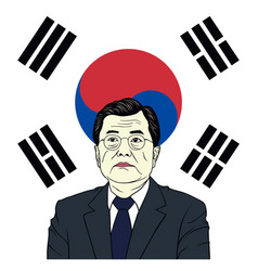 moon jae-in president of south korea with flag vector image