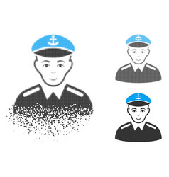 Moving dot halftone captain icon with face vector