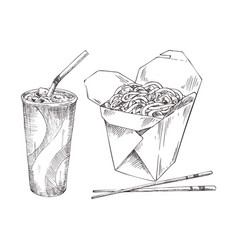 Noodles in box and paper cup drink sketch icon set vector