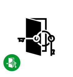 opened door with two keys on a ring logo rent vector image