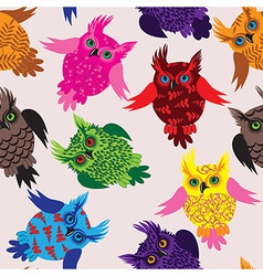 Owl bird seamless icon detail background vector image