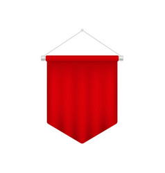 Realistic red pennant template blank 3d flag vector