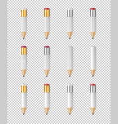realistic white wooden sharp pencil icon vector image