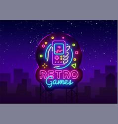 retro games logo geek gaming gamepad vector image