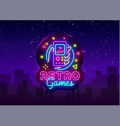 retro games logo retro geek gaming gamepad vector image