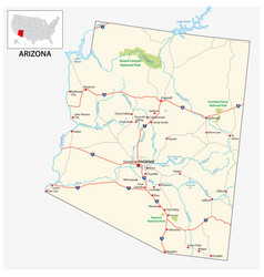 road map us american state arizona vector image