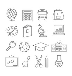 school and education line icons vector image