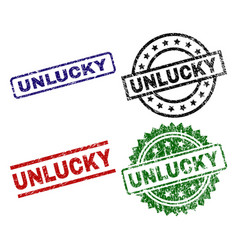 Scratched textured unlucky seal stamps vector