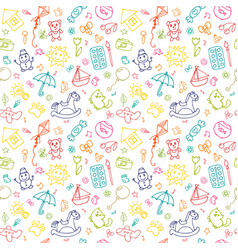 Seamless pattern for cute little girls and boys vector