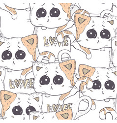seamless pattern with hand drawn kitten cartoon vector image