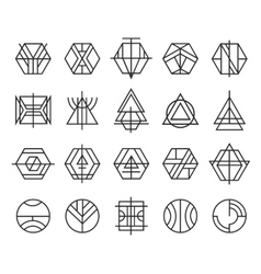 set abstract linear hipster logos vector image