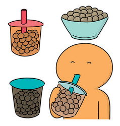 set bubble milk tea vector image