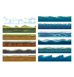 Set of landscape land sea and cloud backgrounds vector
