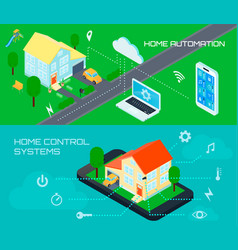 Smart home isometric banners set vector