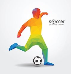 soccer football kick striker player geometric vector image