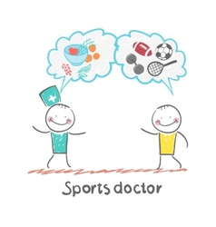 Sports doctor speaks to man of sport and healthy vector image