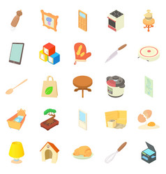 Steading icons set cartoon style vector