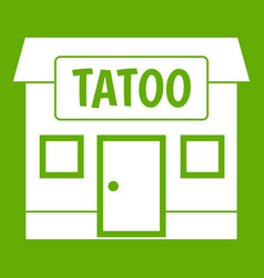 tattoo salon building icon green vector image