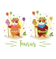 The signs of the zodiac Guinea pig Taurus vector