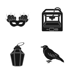 Theatrical mask 3d printer and other web icon in vector