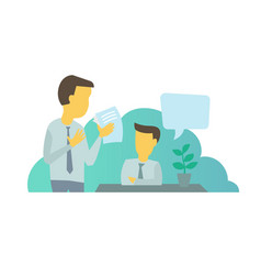 Two businessmen situation at work workflow man vector
