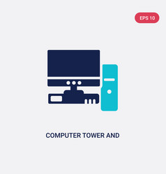 two color computer tower and monitor icon vector image