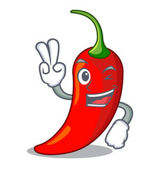 two finger character red chili pepper for vector image