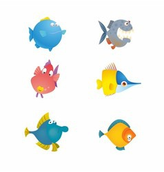 Various cute fishes collection vector
