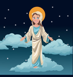 virgin mary blessed night background vector image