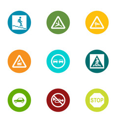 Walking place icons set flat style vector