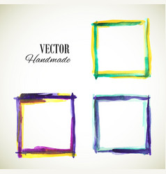 watercolor-frame-blue-violet-yellow vector image
