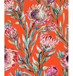Watercolor tropical protea pattern vector image vector image
